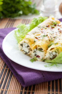 pastry tubes with ricotta and spinach, cannelloni