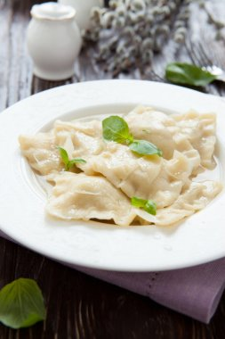 ravioli with ricotta and basil leaves