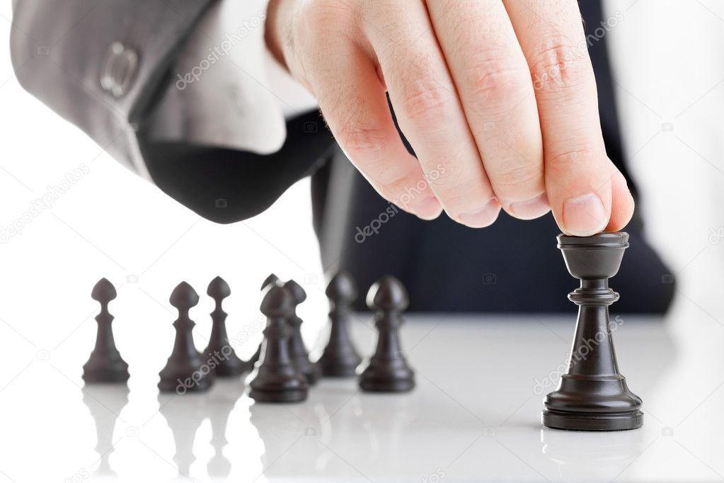 Business man moving chess figure with team behind - strategy or leadership concept stock vector