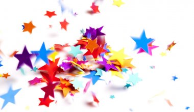 Colored stars confetti falling on white stock vector