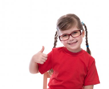 little girl wearing red t-shirt and glass showing thumb