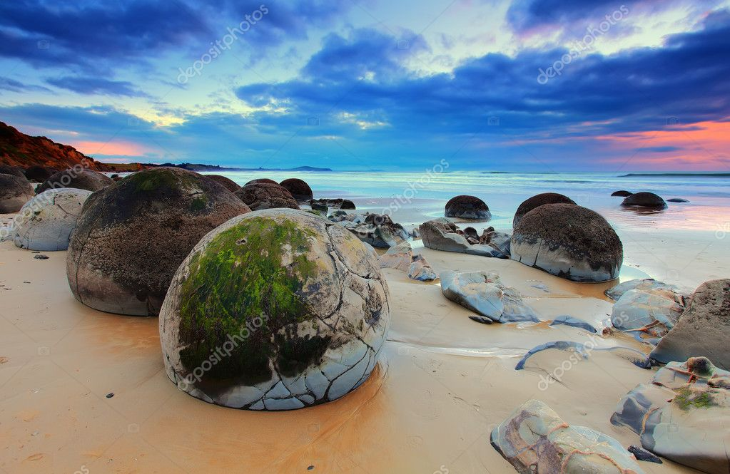Cloudy Sunrise at Moeraki Boulders, New Zealand