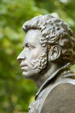 The bronze bust of Pushkin in Gomel. Belarus