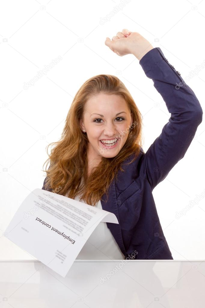 Happy young woman is happy about her employment contract