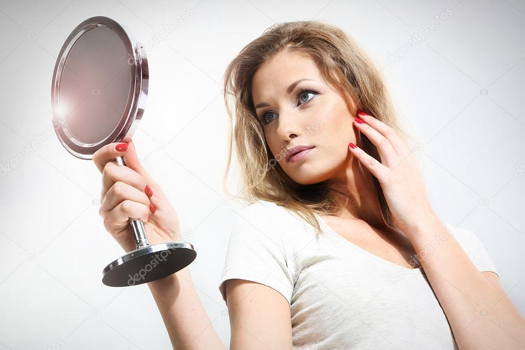 woman holding mirror. Interesting Woman Picture Of Beautiful Woman Holding Mirror U2014 Stock Photo Inside Woman Holding Mirror