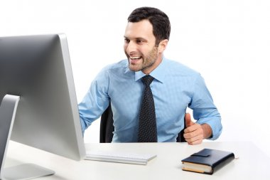 Business man working on a computer
