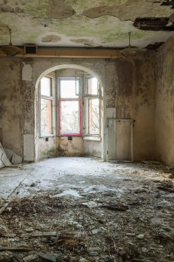 Destroyed, abandoned room in the building