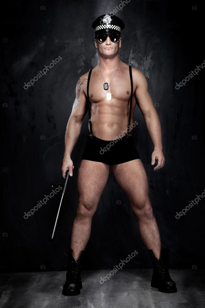 Conceptual photo of muscular, good looking police officer over t
