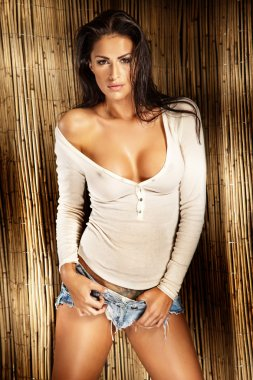 Sexy brunette lady in white shirt posing
