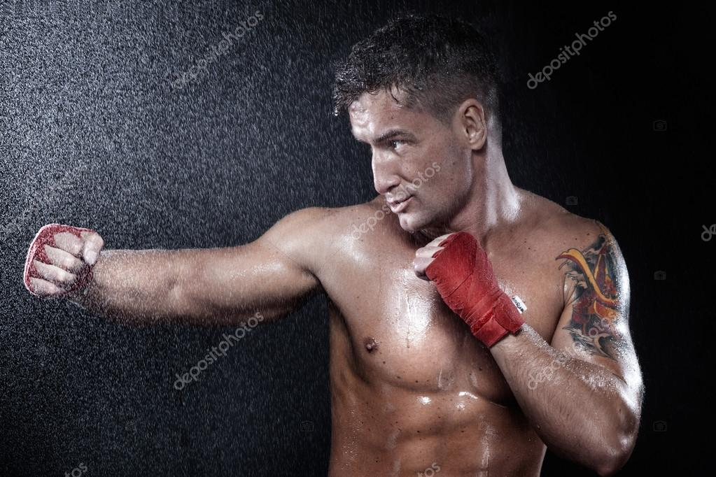 Photo of young muscular sports guy