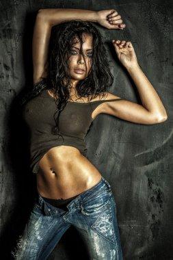 Sexy beautiful brunette lady posing