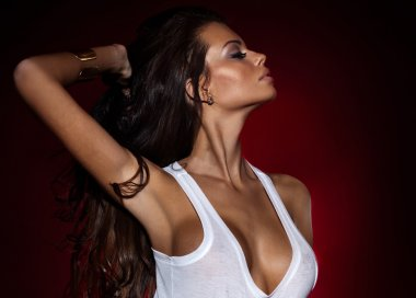 Attractive brunette woman posing.