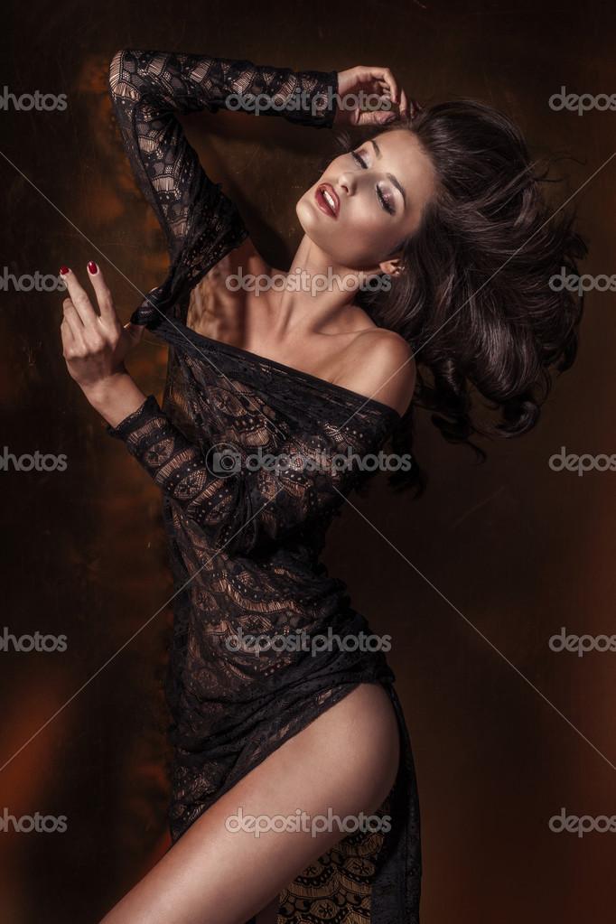 Sexy brunette dancing