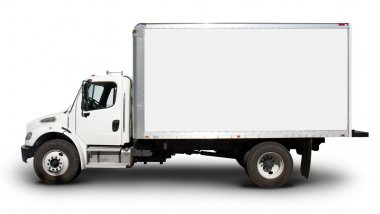 White Delivery Truck Side View