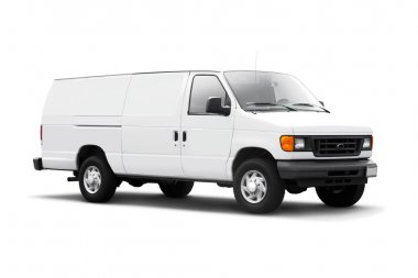 White Delivery Van on White with drop shadow