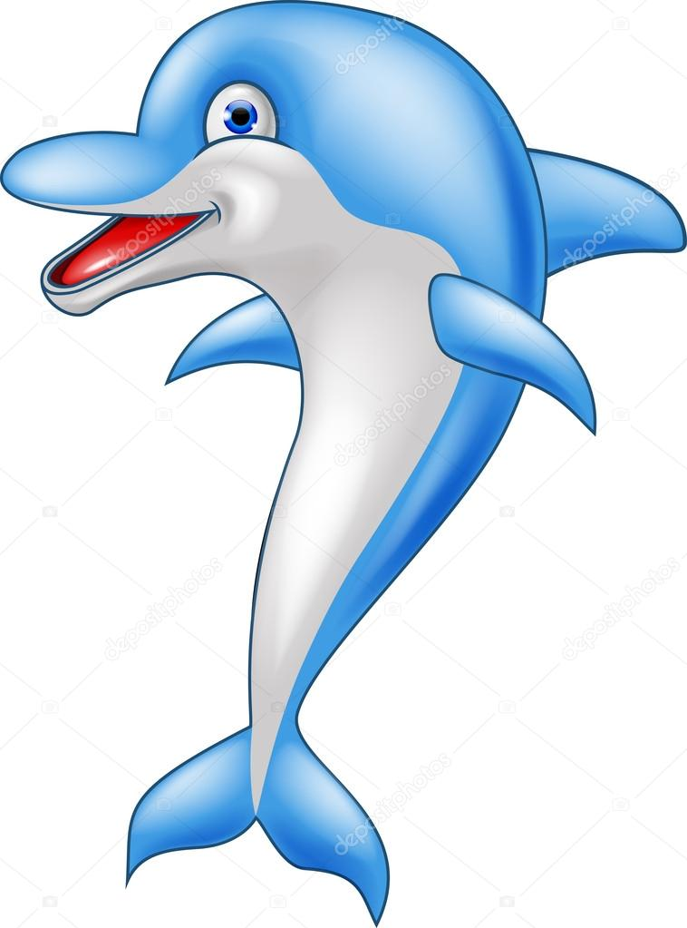 Cartone animato divertente delfino — vettoriali stock