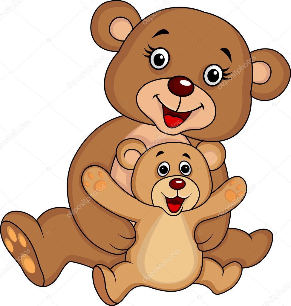Madre Y Bebé Oso De Dibujos Animados Archivo Imágenes Vectoriales