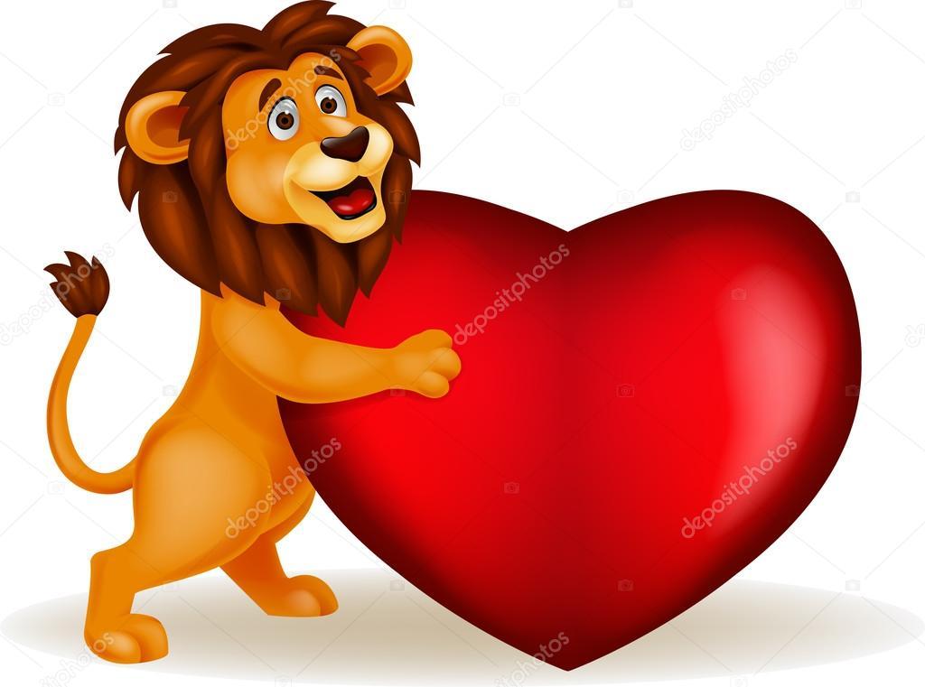 Картинка лев с сердечками