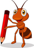 Photo Cute ant cartoon with red pencil