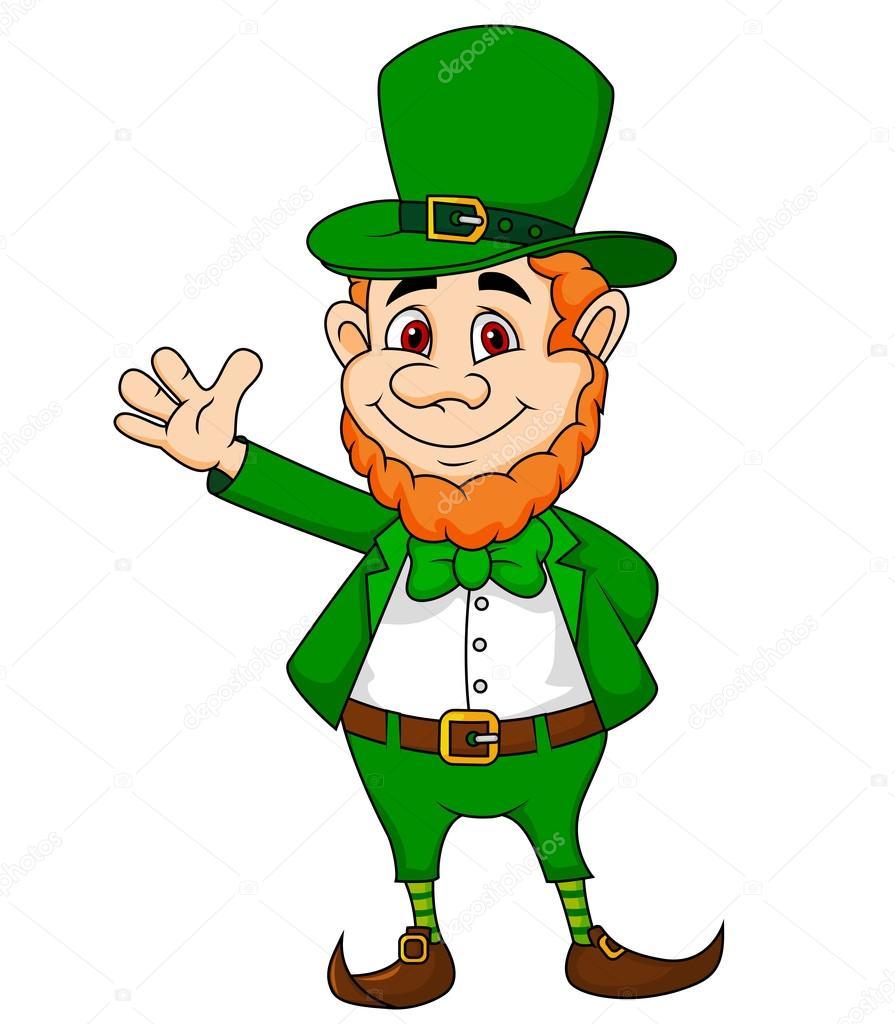leprechaun cartoon waving hand u2014 stock vector tigatelu 23051450