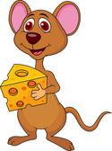 Fotografie Süße Maus-Cartoon-Holding-Käse