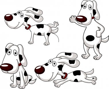 Cute dog cartoon collection isolated on white clip art vector