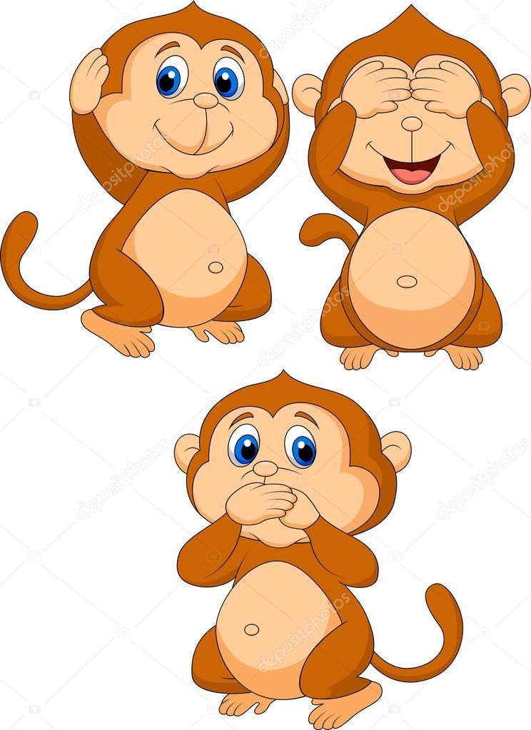 Cartone animato tre scimmie sagge — vettoriali stock