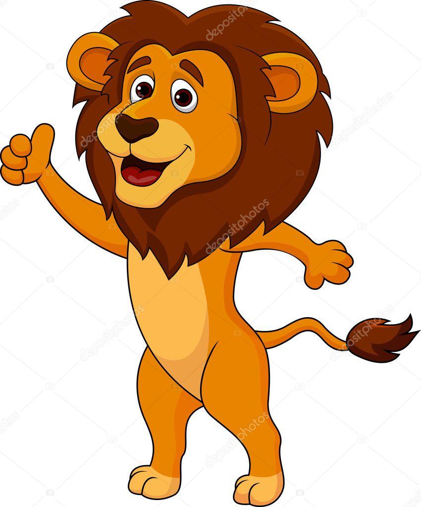Süße löwe cartoon daumen hoch — stockvektor tigatelu