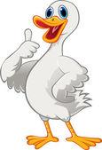 Fotografie Kreslený roztomilé kachna s palcem nahoru