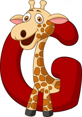 Alphabet G with giraffe cartoon
