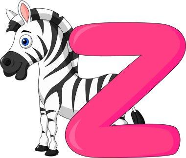 Alphabet Z with zebra cartoon