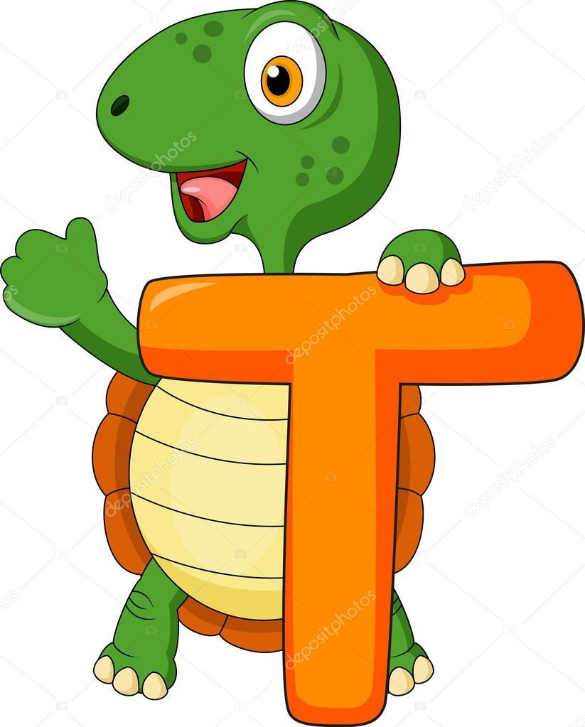 Alfabeto t con dibujos animados de tortugas — vector