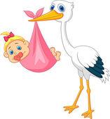 Čáp s baby girl kreslený