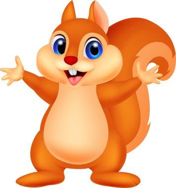 Squirrel cartoon waving hand