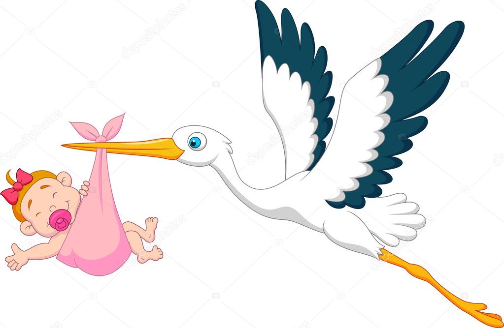 Baby Shower Stork Clipart ~ Stork with baby girl cartoon u2014 stock vector © tigatelu #25391139