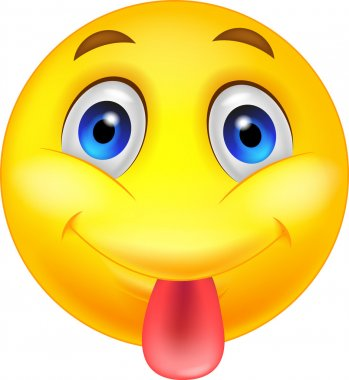 Smiley emoticon cartoon sticking out his tongue