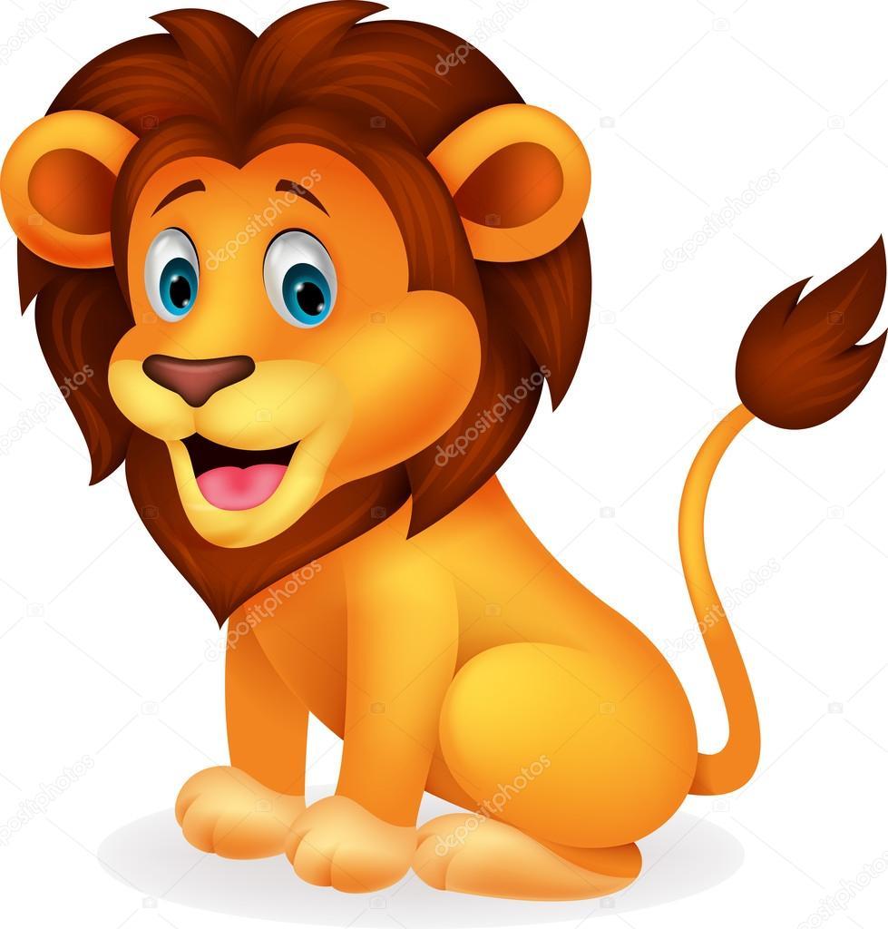 animado leon de dibujos animados lindo león vector de stock