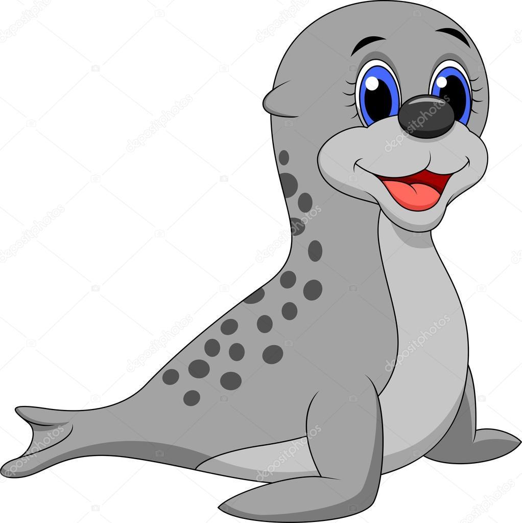 Baby Phoque caricature de bébé phoque — image vectorielle tigatelu © #25415683
