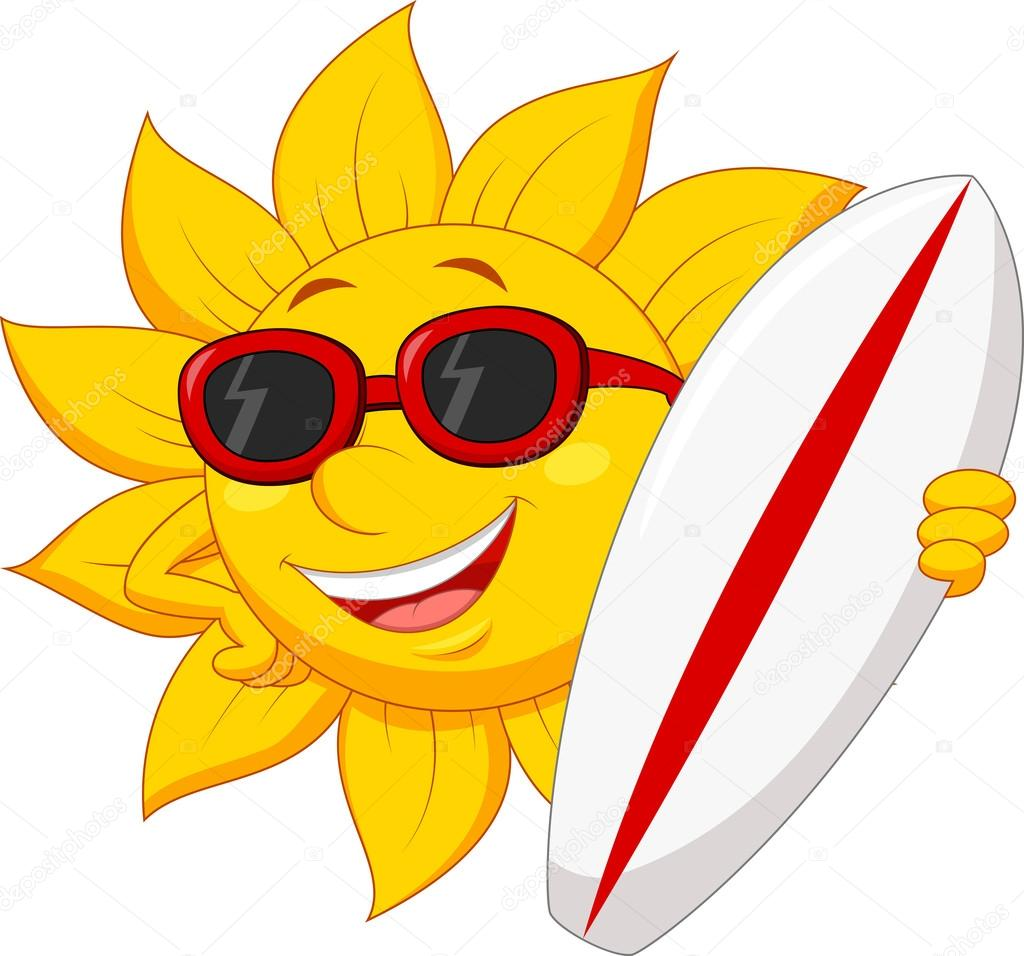 Sole simpatico cartone animato con surf board — vettoriali