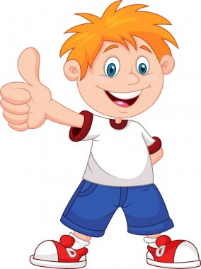 Illustration of a boy with thumbs up on a white background