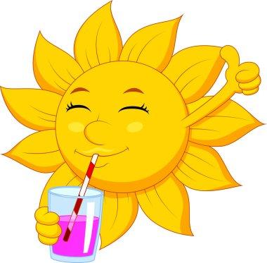 Illustration of Sun cartoon character drinking clip art vector