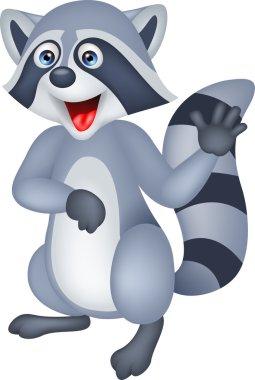Raccoon cartoon waving