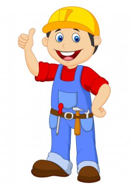Cartoon handyman with tools belt thumb up