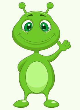 Cute green alien cartoon waving