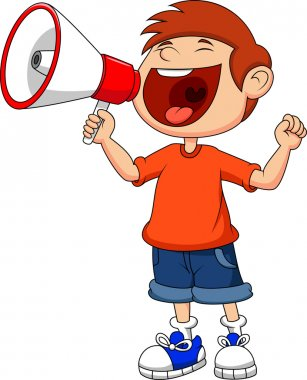 Cute boy with megaphone
