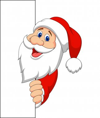 Santa Claus, holding a blank sign