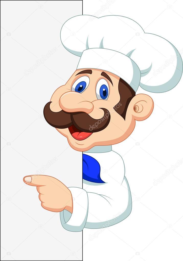 Cozinheiro chefe dos desenhos animados com sinal em branco for Chef en frances