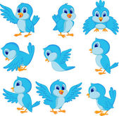 Photo Cute blue bird cartoon collection set