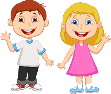Cute children waving hand stock vector