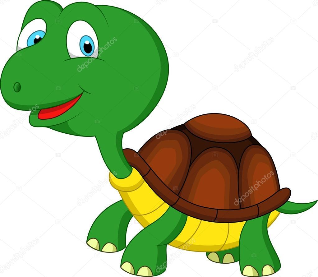 Caricatura lindo tortuga verde — vector de stock